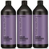 Pachet 3 x Sampon pentru Par Vopsit - Matrix Total Results Color Obsessed Shampoo 1000 ml