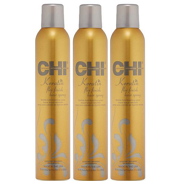 Pachet 3 x Spray de Styling cu Keratina - CHI Farouk Keratin Flex Finish Hairspray 284 gr
