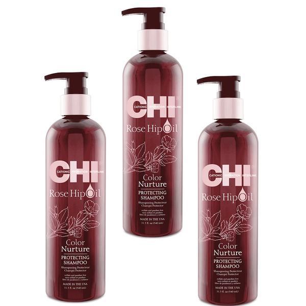 Pachet 3 x Sampon Protector Par Vopsit - CHI Farouk Rose Hip Oil Color Nurture Protecting Shampoo 340ml