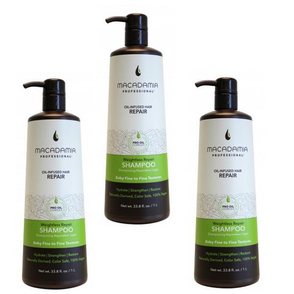 Pachet 3 x Sampon Hidratant pentru Par Fin - Macadamia Professional Weightless Repair Shampoo 1000 ml imagine produs