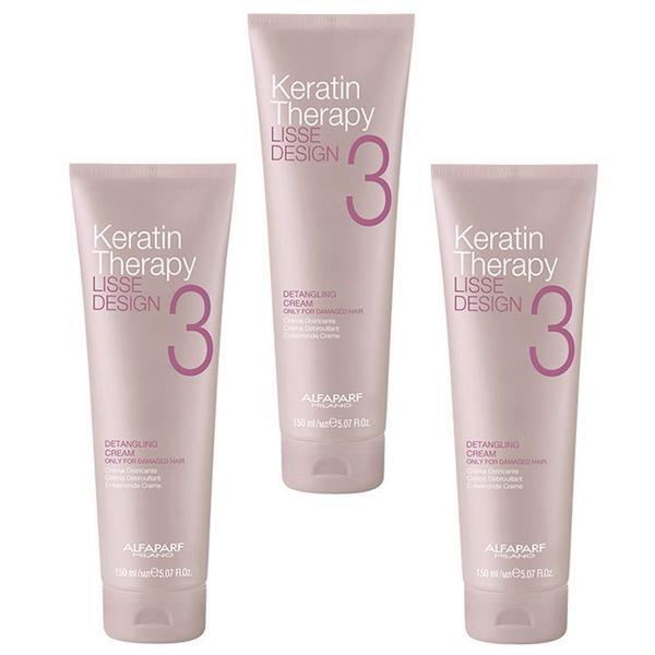 Pachet 3 x Crema pentru Descurcarea Parului - Alfaparf Milano Keratin Therapy Lisse Design Detangling Cream, 150ml imagine produs