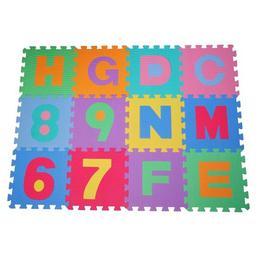 Covor puzzle cu litere si cifre, 36 bucati, 31 x 31 cm