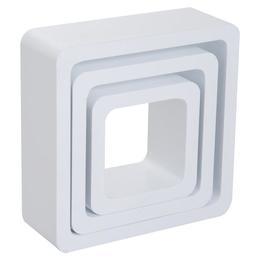 Set 3 rafturi de perete Square, MDF alb- Caerus Capital