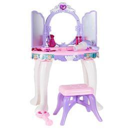 Masuta de intrumusetare MalPlay cu oglinda,mp3,bagheta magica,scaunel,sunte si lumini,lila