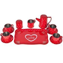 Set de joaca pentru copii MalPlay , Set ceainic din metal,rosu cu inimioare,12 piese
