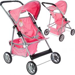 Carucior pliabil MalPlay pentru papusi cu cadru metalic si roti de cauciuc, roz