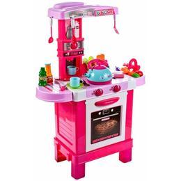 Bucatarie fetite MalPlay cu aragaz,ceainic,accesorii,sunete si lumini, roz