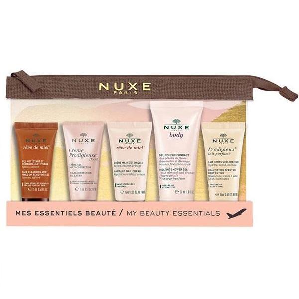 Kit Pentru Calatorii 5 Miniproduse Nuxe Beauty Essentials ( Gel 15ml + Crema Corectoare 15ml + Crema Maini 15ml + Gel 30ml + Lapte 15ml)