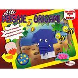Peisaje-Origami (rosu) - Coloram, lipim si indoim, editura Aramis