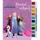 Disney: Regatul de gheata II. Pictam cu sclipici. Carte de colorat cu pensula si acuarele, editura Litera