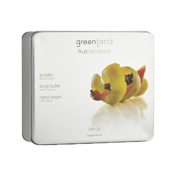 Set Skin kit, Papaya-Lamaie, unt corp 120ml, crema maini 75 ml, balsam buze 3.9g, Greenland