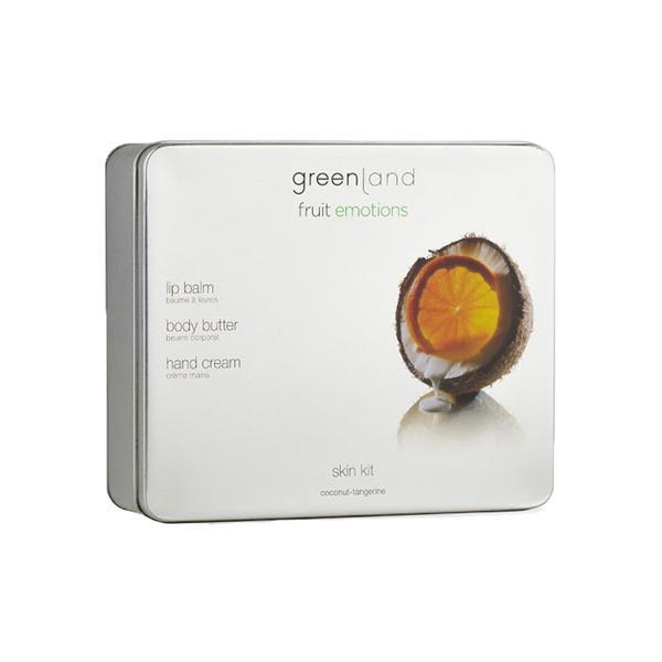Set Skin kit, Cocos-Mandarine, unt corp, crema maini, balsam buze, Greenland, 300 gr