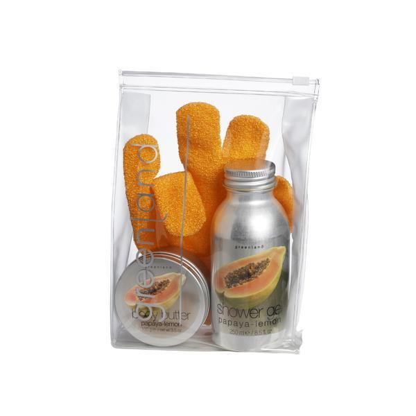 Set cadou mic, papaya-lamaie, gel dus 250ml, unt corp 100g, manusa baie, Greenland esteto.ro