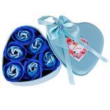 Set 6 buc trandafiri din sapun, in cutie metalica tip inima - SSMedia
