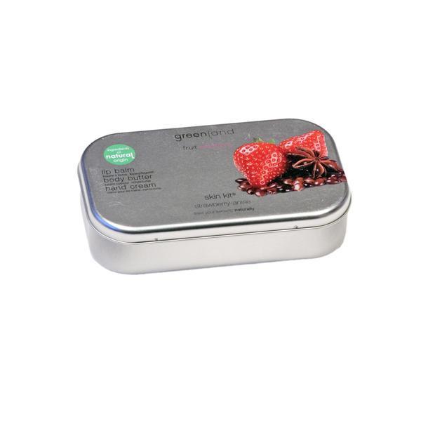Set cadou metalic, cu capsuni si anason, balsam buze 3.9g , crema de maini 50ml , unt de corp 100ml, Greenland esteto.ro