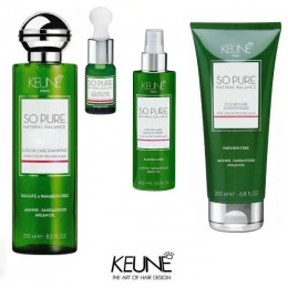 Pachet Keune So Pure Color Care - Sampon, Balsam, Ulei Esential si Spray Leave In