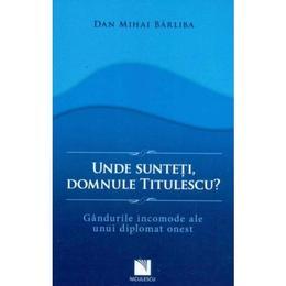 Unde Sunteti, Domnule Titulescu? - Dan Mihai Barliba, editura Niculescu