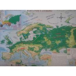 Harta fizica a Europei + Harta politica a Europei 1:20.000.000/1:22.000.000, editura Carta Atlas