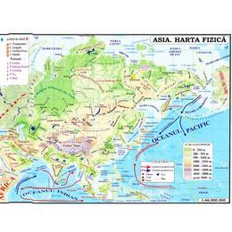 Asia - Harta Fizica + Harta Politica 1:46.000.000 (pliata), editura Carta Atlas