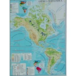 America - Harta Fizica + Harta Politica A3, editura Carta Atlas