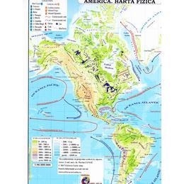 America - Harta Fizica + Harta Politica 1:46.000.000 (pliata), editura Carta Atlas