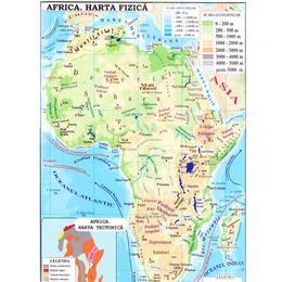 Africa + Australia - Harta fizica 1:40.000.000 (pliata), editura Carta Atlas