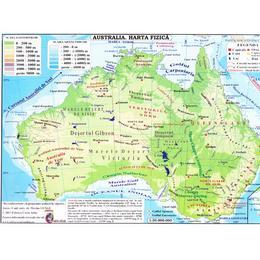 Africa Australia Harta Fizica 1 40 000 000 Pliata Editura