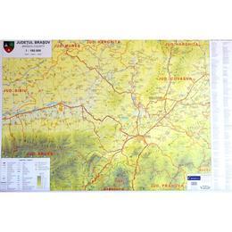 Harta de perete Judetul Brasov, editura Cartographia