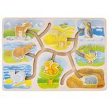 Puzzle - Labirint din lemn Casutele animalelor - Goki