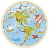 Puzzle circular din lemn Calatorie prin lume - Goki