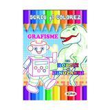 Scriu si colorez: Grafisme: Cu roboti si dinozauri, editura Dorinta
