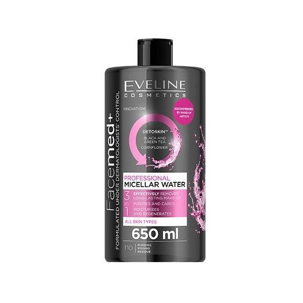 Apa Micelara Profesionala, Eveline Cosmetics, 3in1, Pentru Toate Tipurile De Ten, 650 ml imagine produs