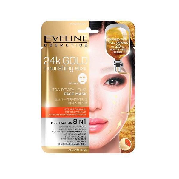 Masca de fata, Eveline Cosmetics, 24K GOLD ultra-revitalizanta 8in1, 20 ml esteto.ro