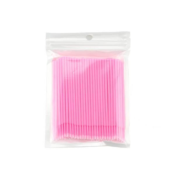 Set 100 Micro Brush, microaplicatoare extensii gene, roz esteto.ro