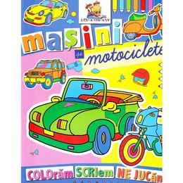 Masini si motociclete - Coloram, scriem, ne jucam, editura Lizuka Educativ