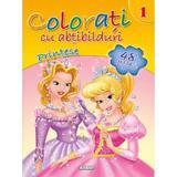 Colorati cu abtibilduri 1: Printese, editura Girasol