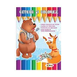 Citesc si colorez: Ursul pacalit de vulpe, editura Dorinta