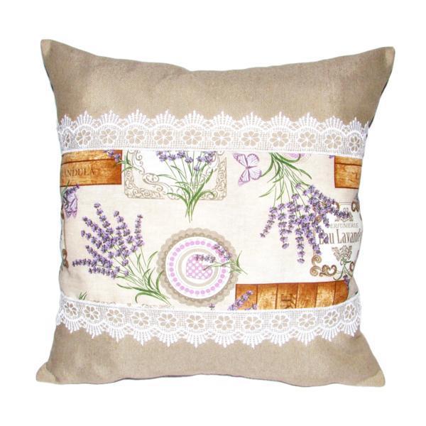Perna decorativa cu dantela, imprimeu lavanda, dimensiune 40×40 cm – Happy Gifts