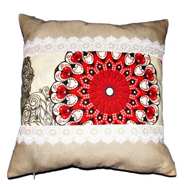 Perna decorativa cu dantela, imprimeu mandala, dimensiune 40x40cm – Happy Gifts
