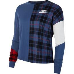 Bluza Femei Nike Top Ls Plaid BV4674-469, XS, Albastru