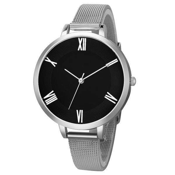 Ceas dama, Geneva CS1112, model argintiu, cadran negru