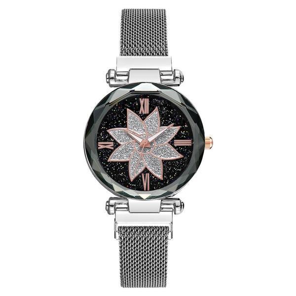 Ceas dama, GENEVA CS1107, model Starry Sky, bratara magnetica, elegant, silver