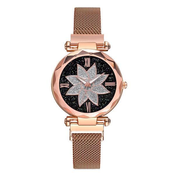 Ceas dama GENEVA CS1104, model Starry Sky, bratara magnetica, elegant, rose gold