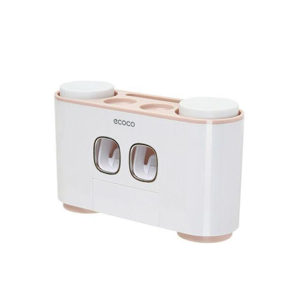 Dozator, dispenser pasta de dinti multifunctional cu suport magnetic pentru 4 pahare, 5 periute si suport accesorii de culoare roz cu alb - Maxdeco