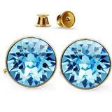 Cercei Argint 925 placati cu Aur Galben cu Swarovski Crystals Cristale Albastru Deschis Oceanic Marin GlassIdeas Jewelry
