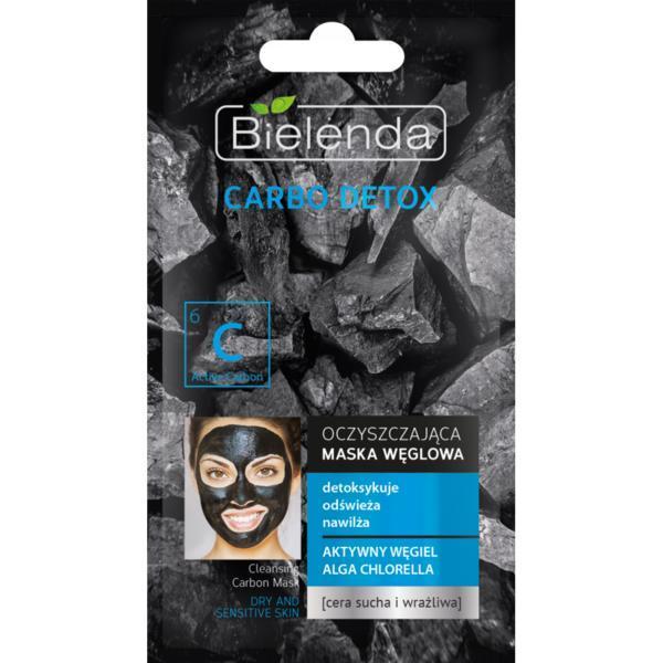Masca cu Carbune Activ si Chlorela pentru ten uscat si sensibil Bielenda Carbo Detox 8 g imagine produs