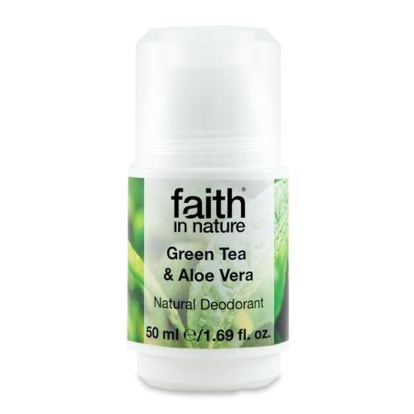 Deodorant roll on natural cu ceai verde si aloe vera Faith in Nature 50 ml imagine produs