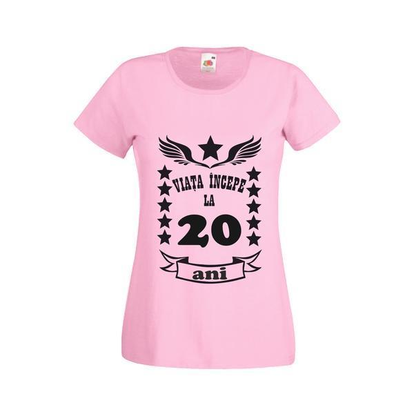 Tricou dama personalizat Fruit of the loom, roz, Viata incepe la 20 ani L