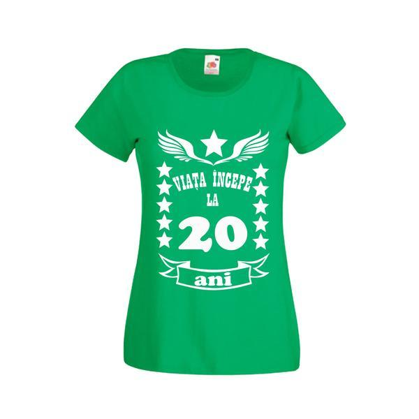 Tricou dama personalizat Fruit of the loom, verde, Viata incepe la 20 ani XL