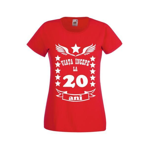 Tricou dama personalizat Fruit of the loom, rosu, Viata incepe la 20 ani 2XL